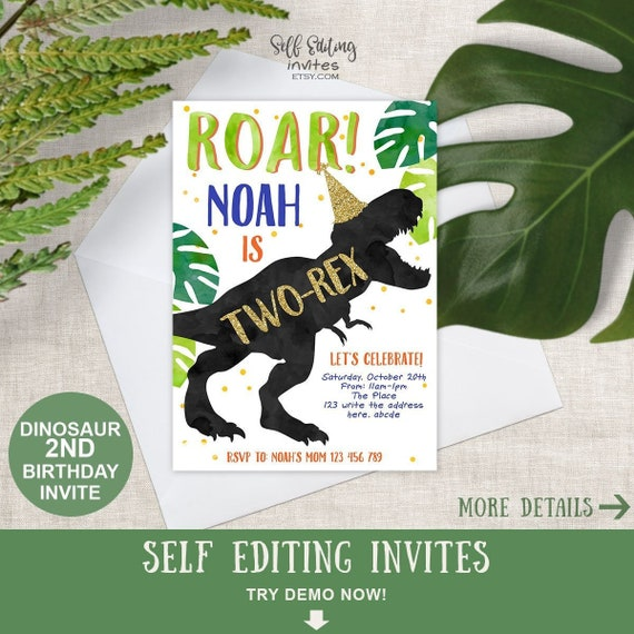 Two Rex Invitation Dinosaur 2nd Birthday Party Invites For Boy Third Instant Download5x7