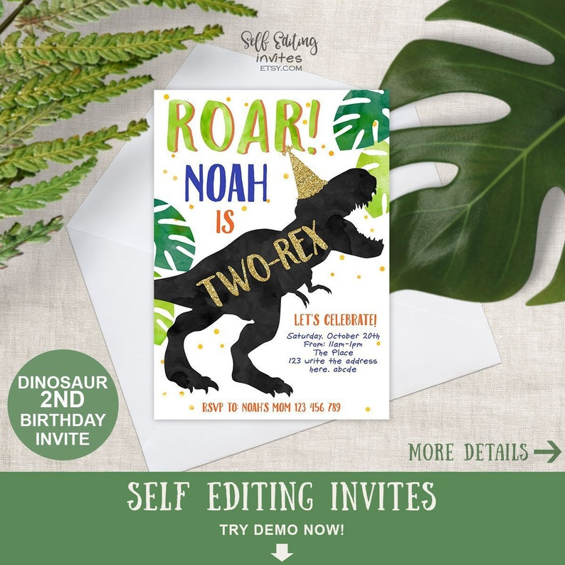 Two Rex Invitation Dinosaur 2nd Birthday Party Invites For