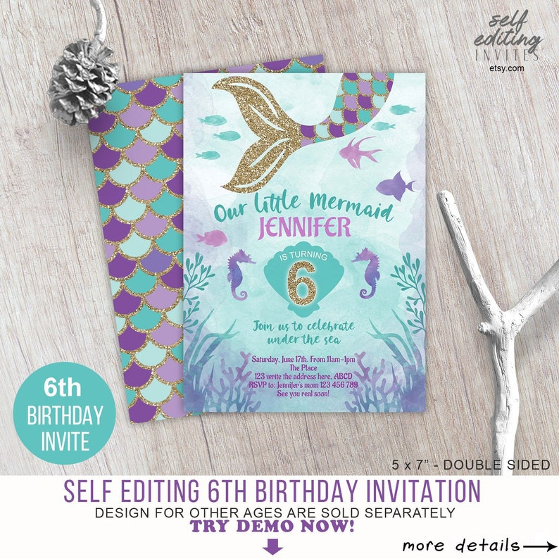 Gold Glitter Little Mermaid Girl 6th Birthday Invitation