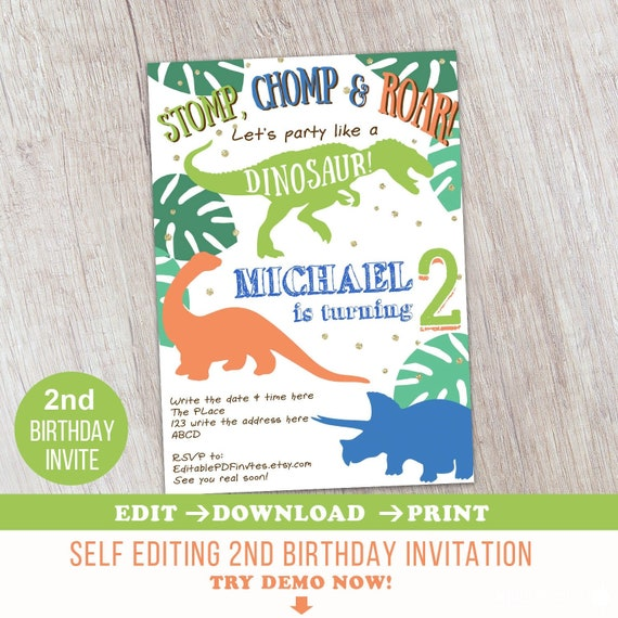 photo regarding Printable Dinosaur Birthday Invitations called 2nd Birthday, Dinosaur, Birthday, Invitation, Dinosaur