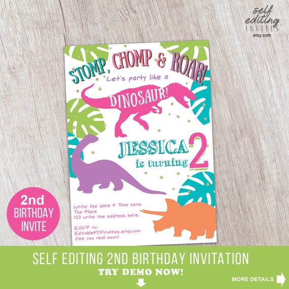 Second Birthday Dinosaur Girl Invitation Invite Dino Mite Printable Party Self Editing
