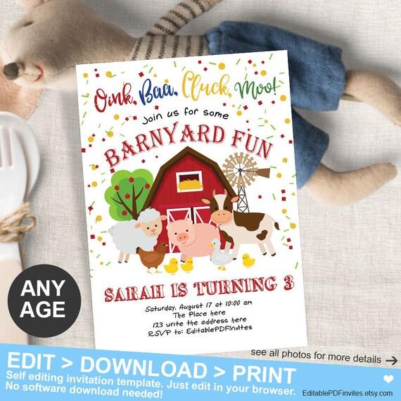 Barnyard Birthday Invitation Farm Invites Girl Or Boy Animals Old MacDonald Printable Instant Download PDF