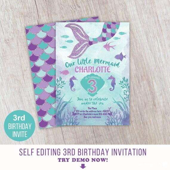 Little Mermaid Girl 3rd Birthday Underwater