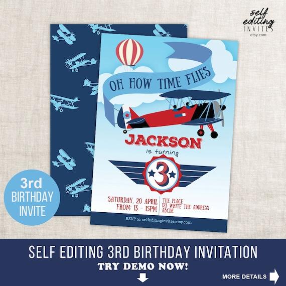 Time Flies Third Birthday Invitation Airplane 3rd Boy Printable Instant Download Self Editing