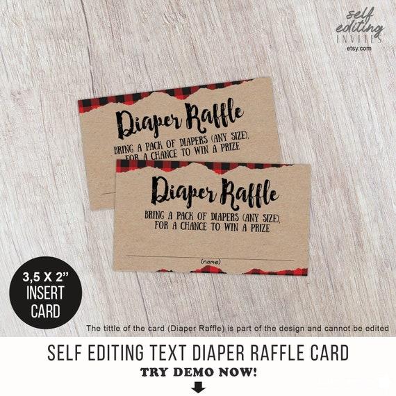 Rustic Lumberjack Diaper Raffle Ticket Boy Baby Shower