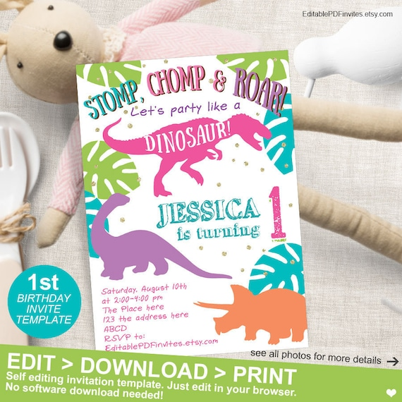 Dinosaur Birthday Girl Party 1st First Invites Printable Invitation Instant Download 5x7
