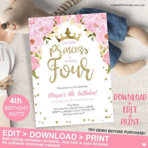 Floral Princess Pink And Gold Birthday Invitation 4th