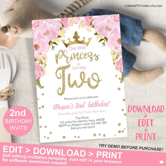 Pink And Gold Princess Second Birthday Invitation Floral 2nd Invite Glitter Instant Download EditablePDF