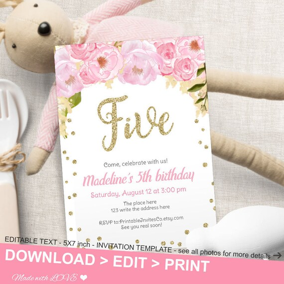 Pink And Gold Flower Birthday Invitation Fifth