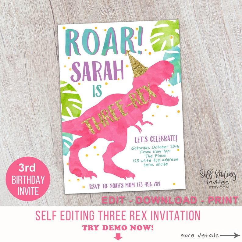 Three Rex Invitation Dinousar 3rd Birthday Party