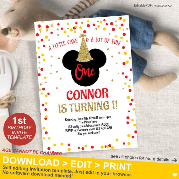 Mickey Mouse Birthday Invitation 1st