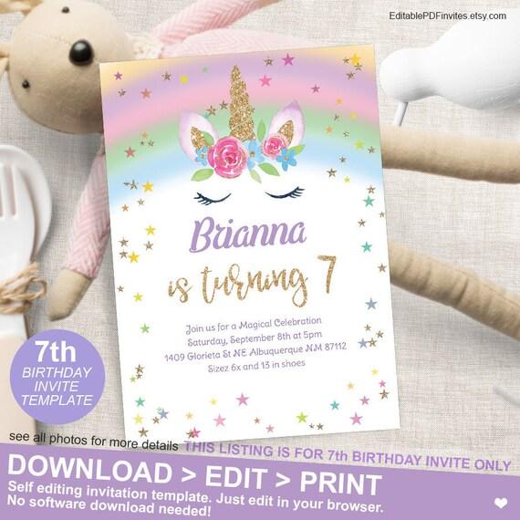 Magical Rainbow Unicorn 7th Birthday Party Invitation Seventh Printable Invites Celebration 5x7