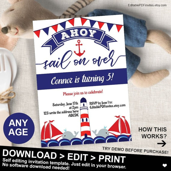 Nautical Birthday Invitation Party Ahoy Boy Invite Printable Instant Download 5x7