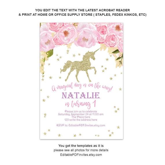 Unicorn First Birthday Invitation Unique Birthday Invites