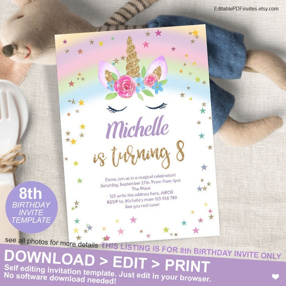 8th BirthdayMagical Unicorn Birthday Invitation Rainbow Party Invite Eighth Girl 5x7 Template