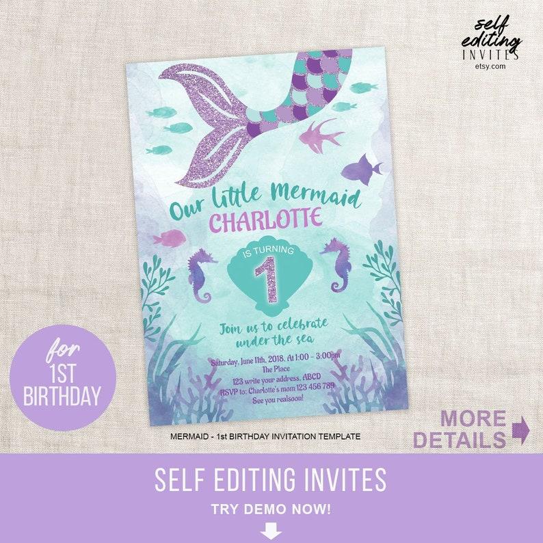 Mermaid Invitation Little Mermaid First Birthday Invitation
