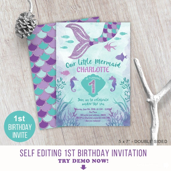 Little Mermaid Under The Sea Girl First Birthday Invitation For 1st Template Self Editing
