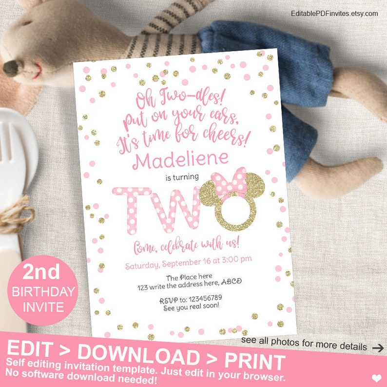 Minnie Mouse 2nd Birthday Invitation Pink And Gold