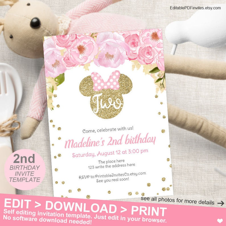 Minnie Mouse 2nd Birthday Invitation Pink And Gold Flower