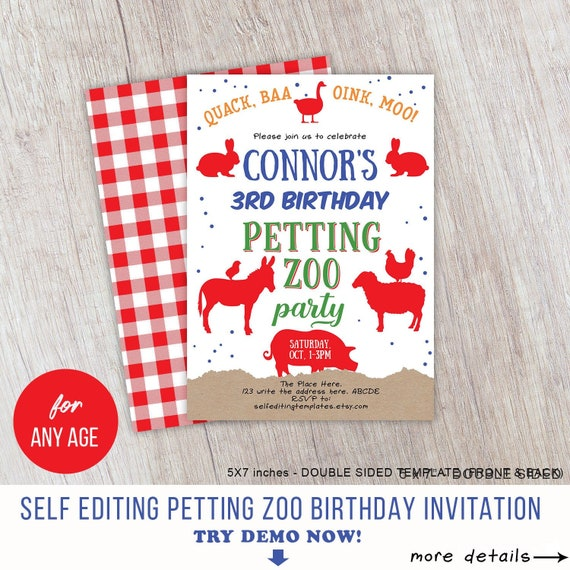 Farm Animals, Petting Zoo Birthday Invitation, Boy, Petting