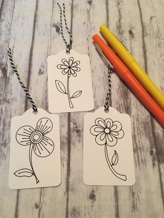 Set of 12 Gift Tags Color Your Own Gift Tags Flower Gift Tags