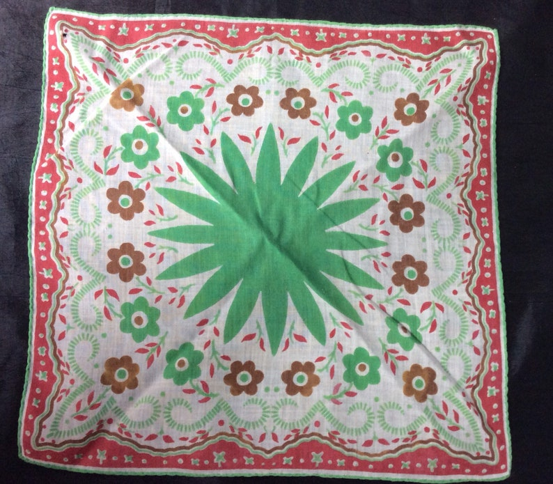 Floral and Geometric Design Set of 2 Green Brown Red Cotton Ladies handkerchiefs Vintage