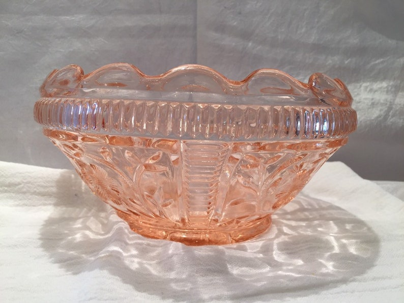 Pink Depression Glass Bowl Scalloped Edge Etched Floral | Etsy