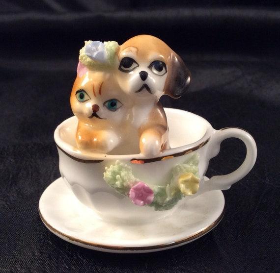 Vintage Napco Miniature Collectible 1 34 Tall, KittenPuppy Porcelain Spaghetti Greenery CupSaucer