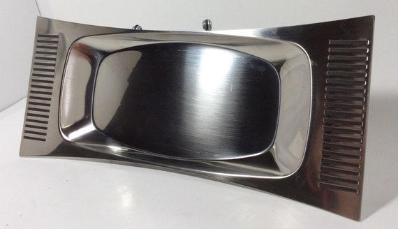 Mid Century Viking Brand Relish Tray,Sleek Stainless Steele Entertaing Tray,Made in Sweden Modern Serving Tray,New in Origianl Packaging