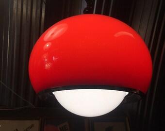 Rare Meblo Guzzini Bud Lamp by Studio 6G    Vintage Red & White Mid Century Adjustable Lamp   Space Age Design   60s Pendant Lighting