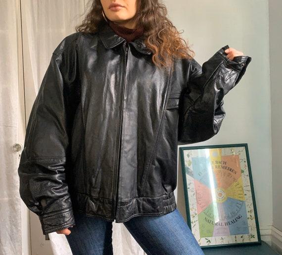 1980s Black Leather Jacket - image 5