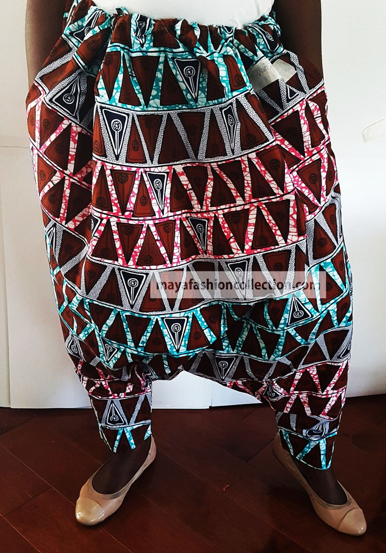 Kadouna African Wax Print Unisex Harem Pant with drawstring F-PTHEF-P405-MVR-01