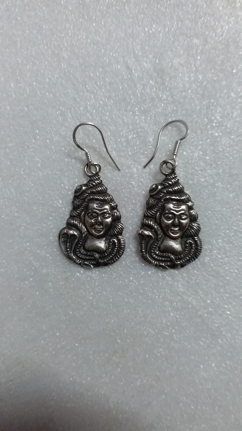 Dangle Silver Earring Unique Lotus Design 92.5 Sterling Hoops Handmade Tribal