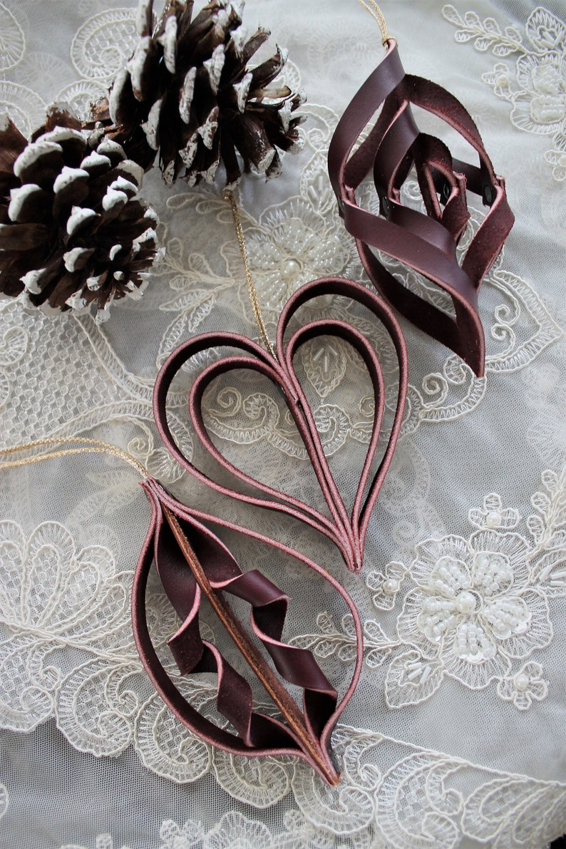 Handcrafted Burgundy Leather Ornaments Set of 3