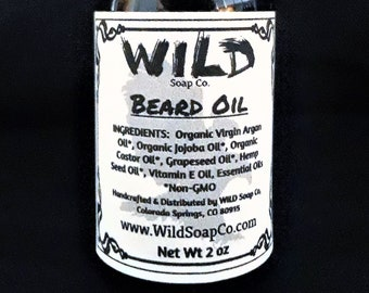 WILD Organic Beard Oil 2 oz  All Natural Beard Oil Beard | Etsy