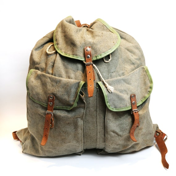 Vintage NEW distressed canvas backpack, military D