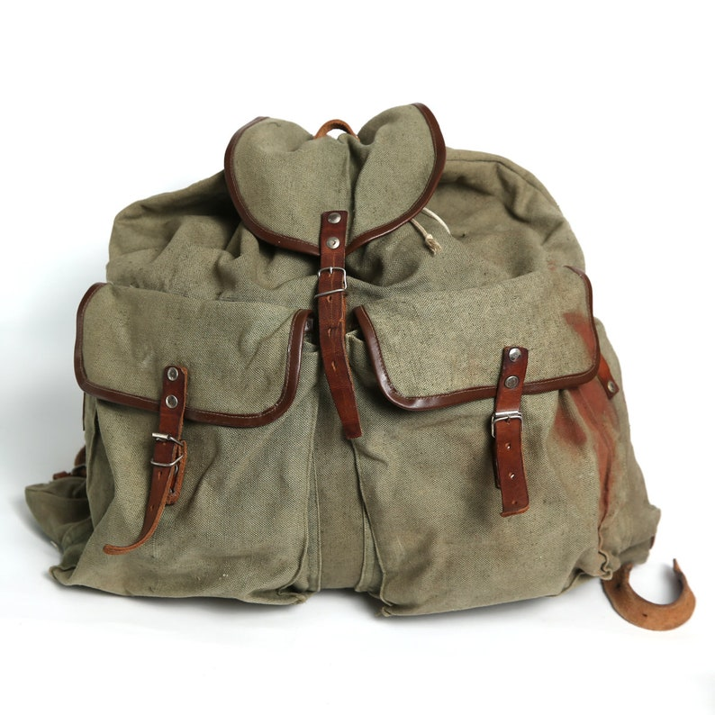 ec52a6f3899f Vintage distressed canvas backpack, military Distressed washed out  backpack, Big travel backpack, Army, Hiking backpack