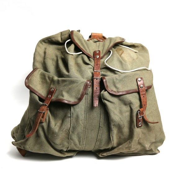 Love Dogs Army Vintage Canvas Rucksack Backpack with Leather Straps