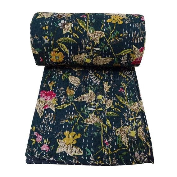 Vintage Kantha Stitch Blanket Bedding Reversible Patchwork Quilt Bedspread Throw
