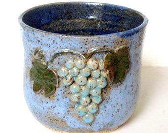 Small Handmade Ceramic Kitchen Crock - Decorative Grapes Vine - Blue Speckled Stoneware Utensil Holder - Wheel-thrown Studio Pottery - Decor