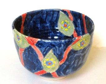 70s Fashion-Inspired Handmade Ceramic Bowl - Colorful Snack Bowl - Small Blue Fruit Bowl - Retro Home Decor - Wheel-thrown Studio Pottery