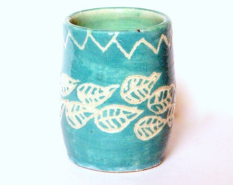 3oz Handmade Ceramic Shot Glass - Shooter - Sipper - Aqua Handcarved Leaves - Tiny Pottery Vase - Q-Tip Holder - Wheel-thrown Studio Pottery