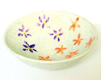 Small Handmade Ceramic Bowl - Candy Dish - Catch-All - White with Purple & Orange Flowers - Stoneware Majolica - Wheel-thrown Studio Pottery