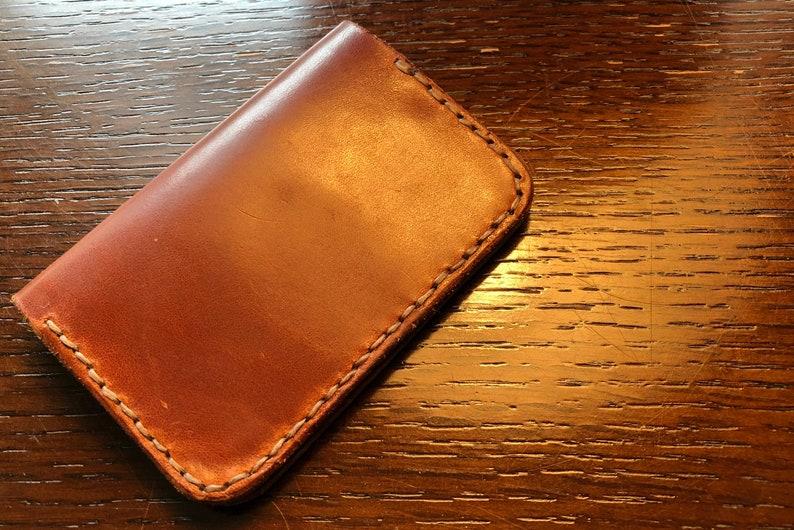 Beech Upright Bifold - Buck Brown Harness - handmade leather wallet -  leather goods - men's leather wallet - minimalist wallet