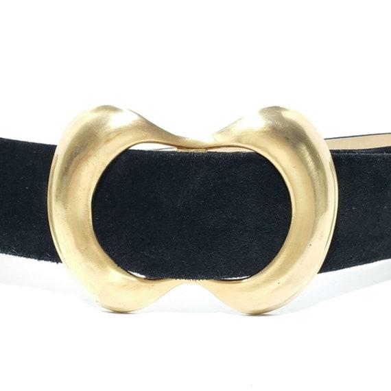 Vintage Statement Black Suede Belt - image 2