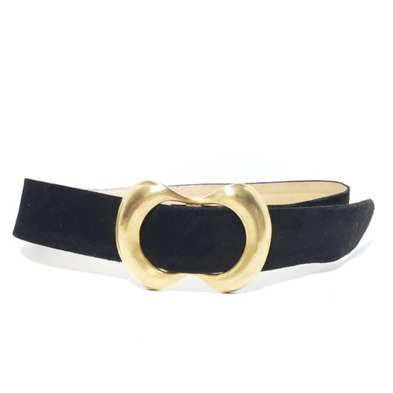 Vintage Statement Black Suede Belt