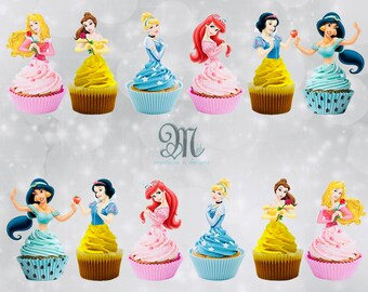 photograph about Disney Princess Cupcake Toppers Free Printable named Disney cupcake Etsy