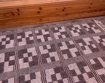 Handwoven cotton and wool rug, small area rug, spa bath mat.