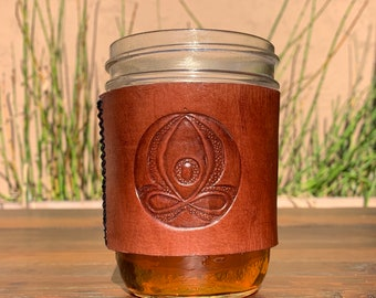 Leather ball jar cozie, hot or cold beverage, positive affirmation.