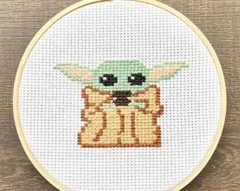 Baby Alien Child Cross Stitch Pattern